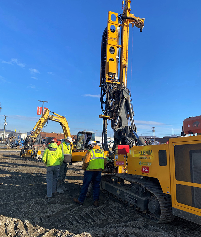 ECA's Account Manager Greg Barta arranged the rental of the KLEMM drilling rig and rod handling attachment